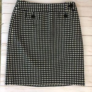 Ann Taylor Black & White Checked Pencil Skirt